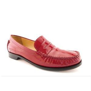 COLE HAAN Red Patent Penny Loafers Flats Shoes 8
